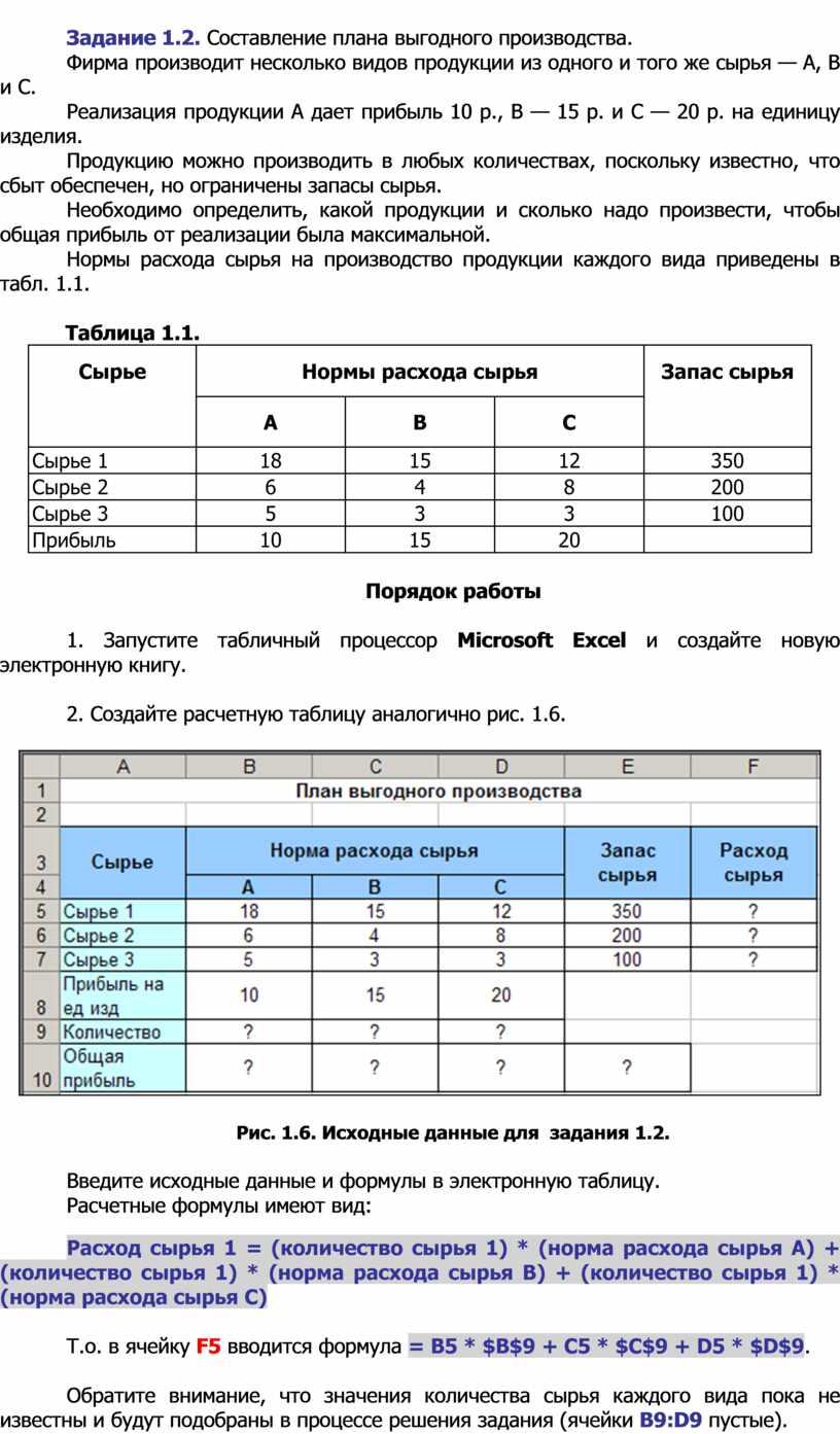 Задание 1.2. Составление плана выгодного производства