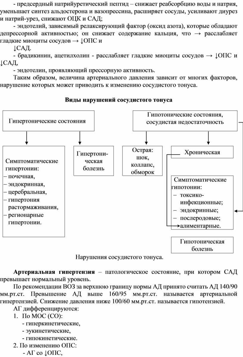 ОЦК и САД; - эндотелий, зависимый релаксирующий фактор (оксид азота), которые обладают депрессорной активностью; он снижает содержание кальция, что → расслабляет гладкие миоциты сосудов →…