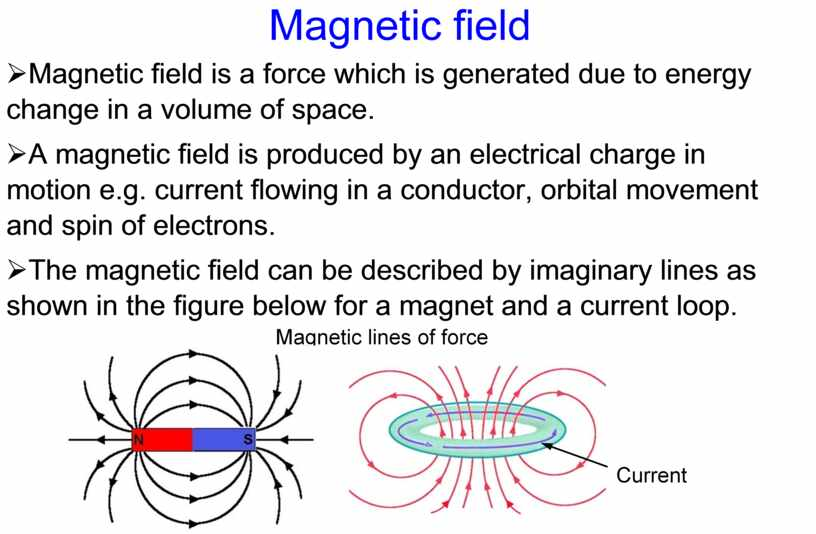 Magnetic field Ø Magnetic field is a force which is generated due to energy change in a volume of space