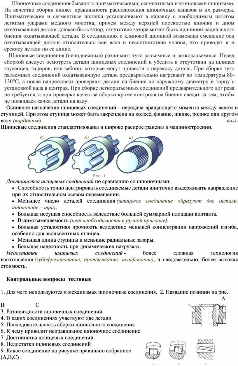 Шпоночные соединения бывают с призматическими, сегментными и клиновыми шпонками