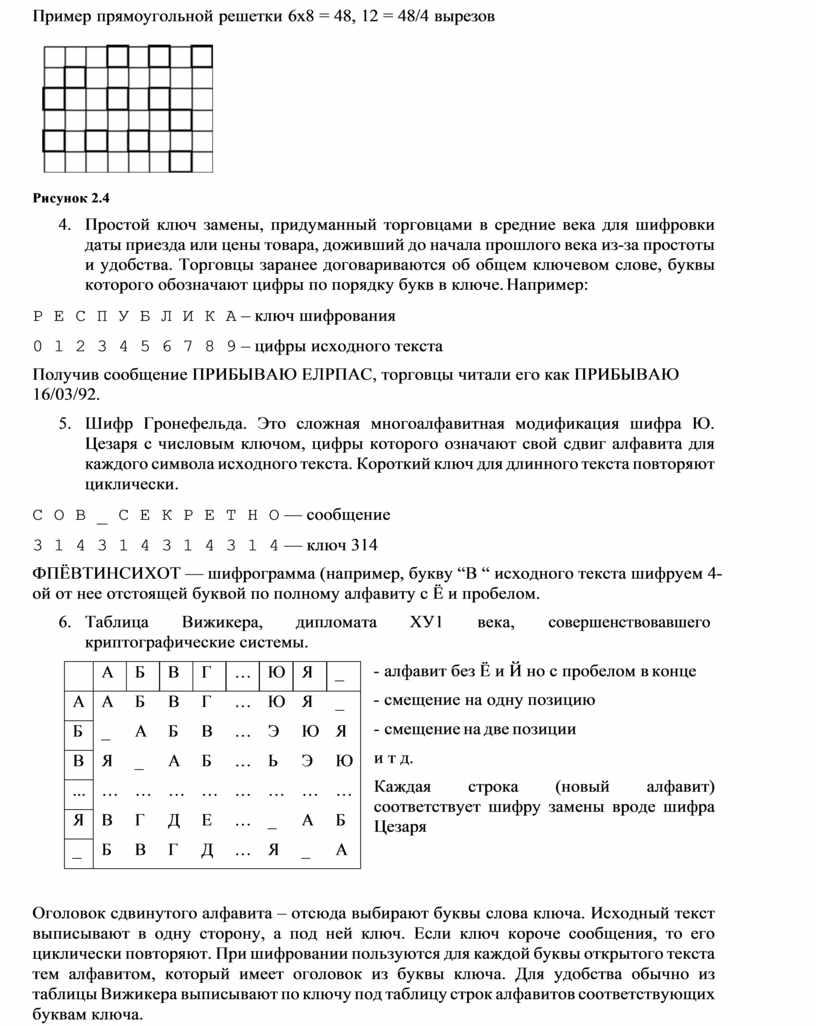 Пример прямоугольной решетки 6х8 = 48, 12 = 48/4 вырезов