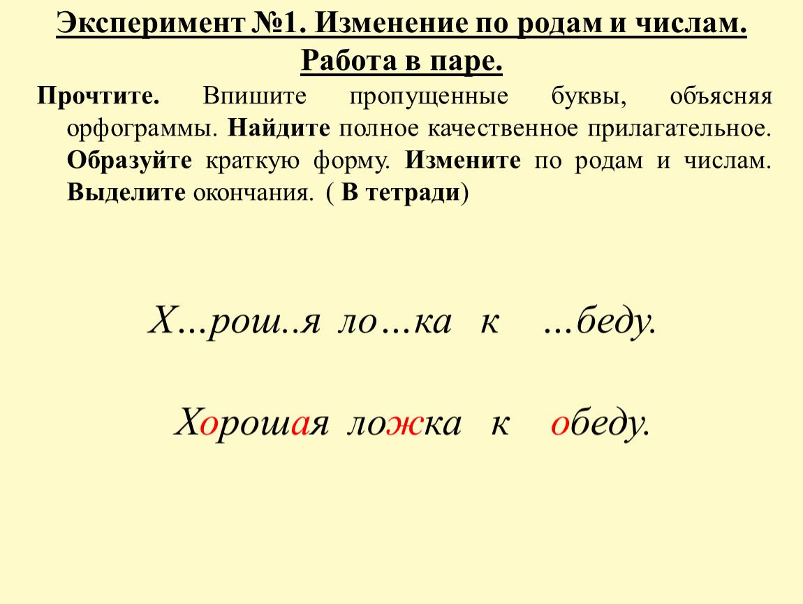 Эксперимент №1. Изменение по родам и числам