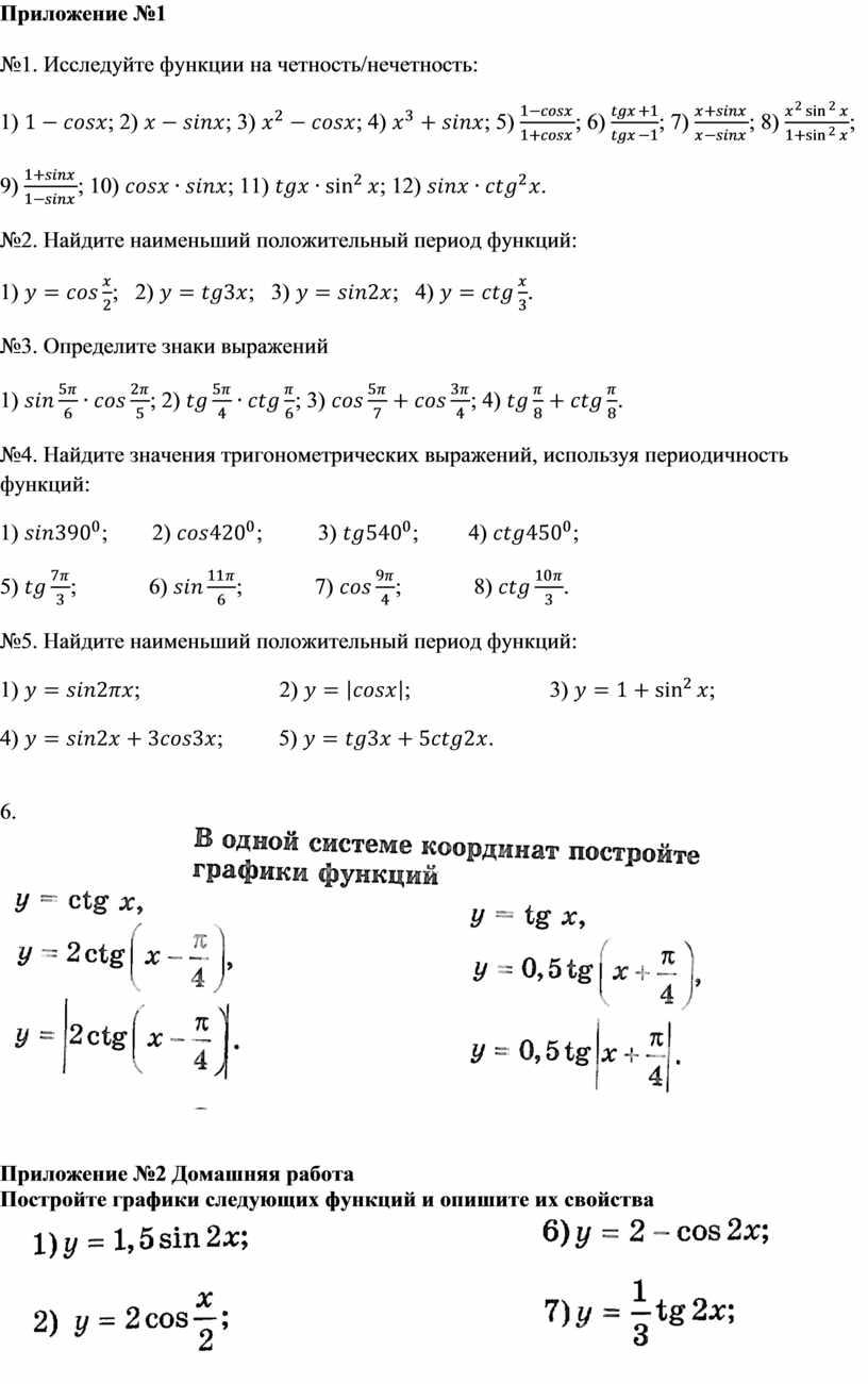 Приложение №1 №1. Исследуйте функции на четность/нечетность: 1) ; 2) ; 3) ; 4) ; 5) ; 6) ; 7) ; 8) ; 9) ;…