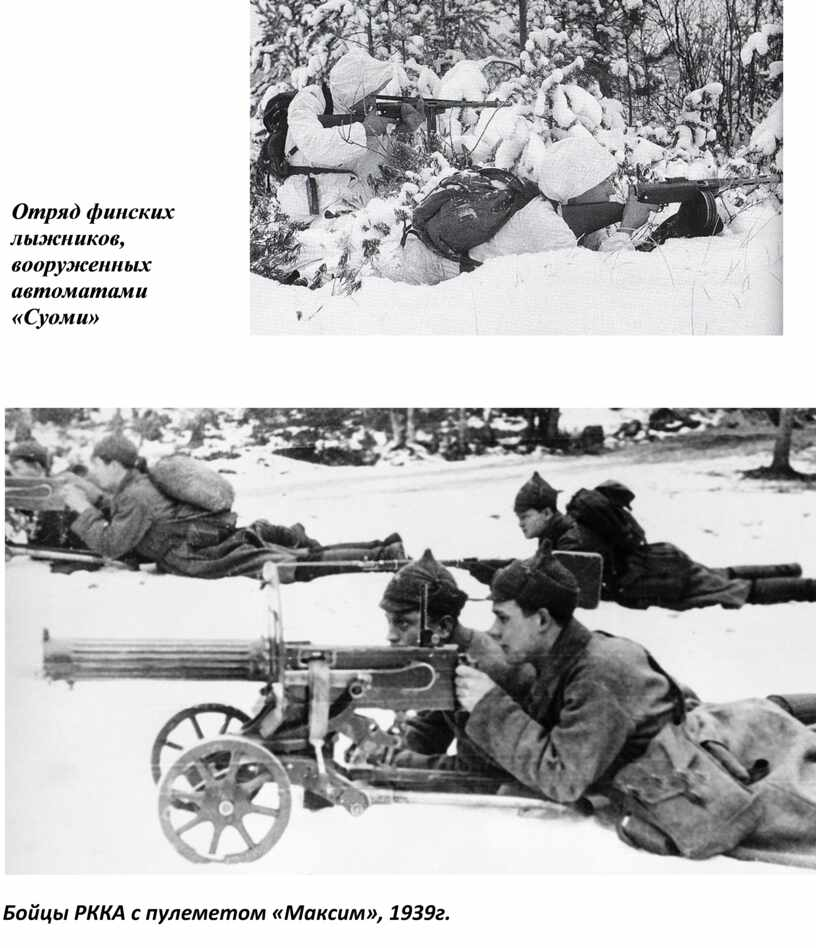 Отряд финских лыжников, вооруженных автоматами «Суоми»