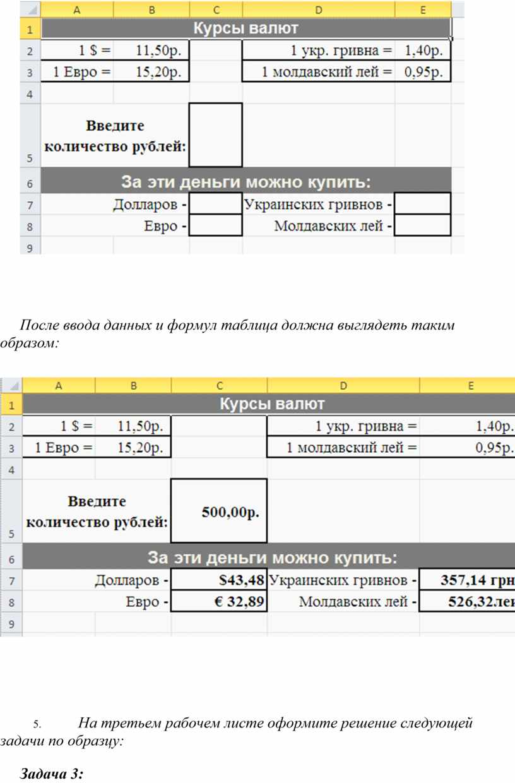 После ввода данных и формул таблица должна выглядеть таким образом: 5