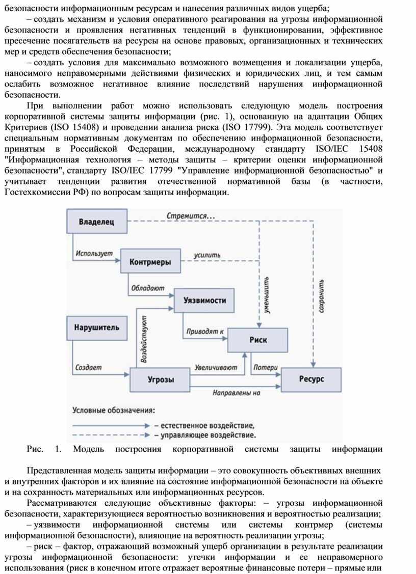 При выполнении работ можно использовать следующую модель построения корпоративной системы защиты информации (рис
