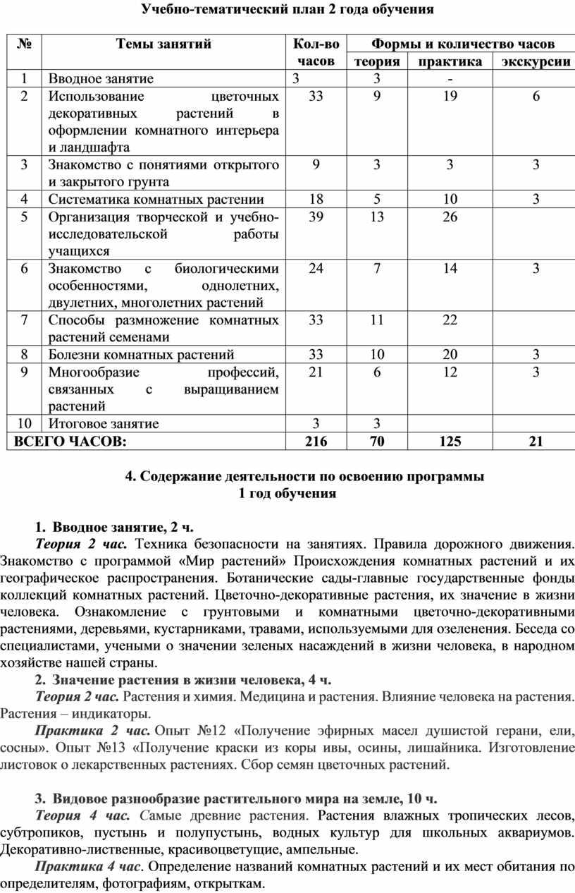 Учебно-тематический план 2 года обучения №