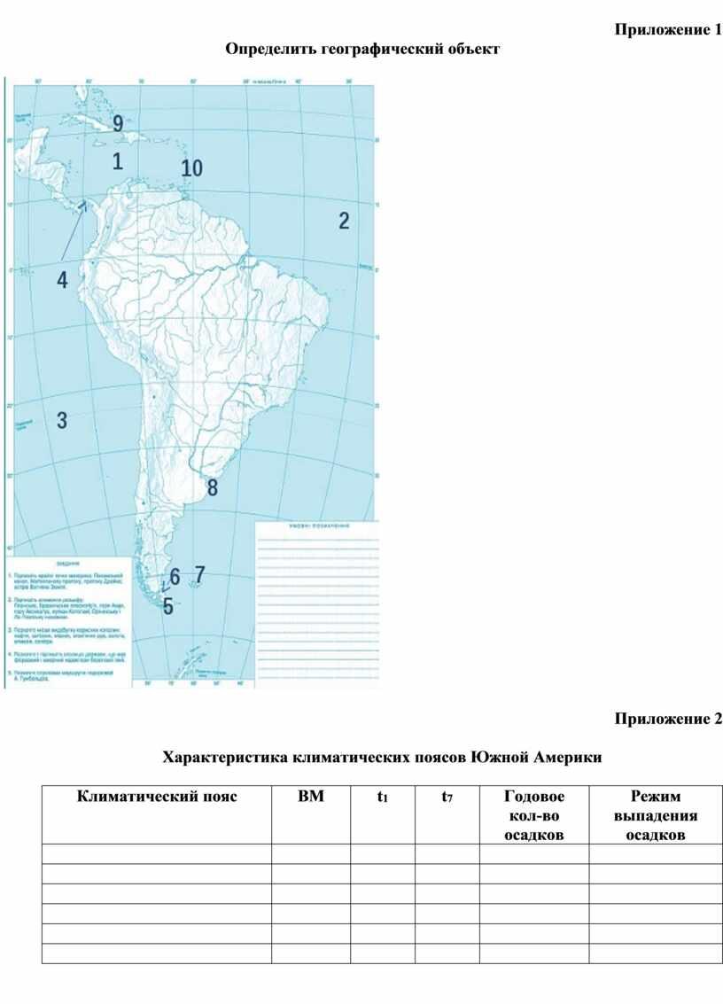 Приложение 1 Определить географический объект