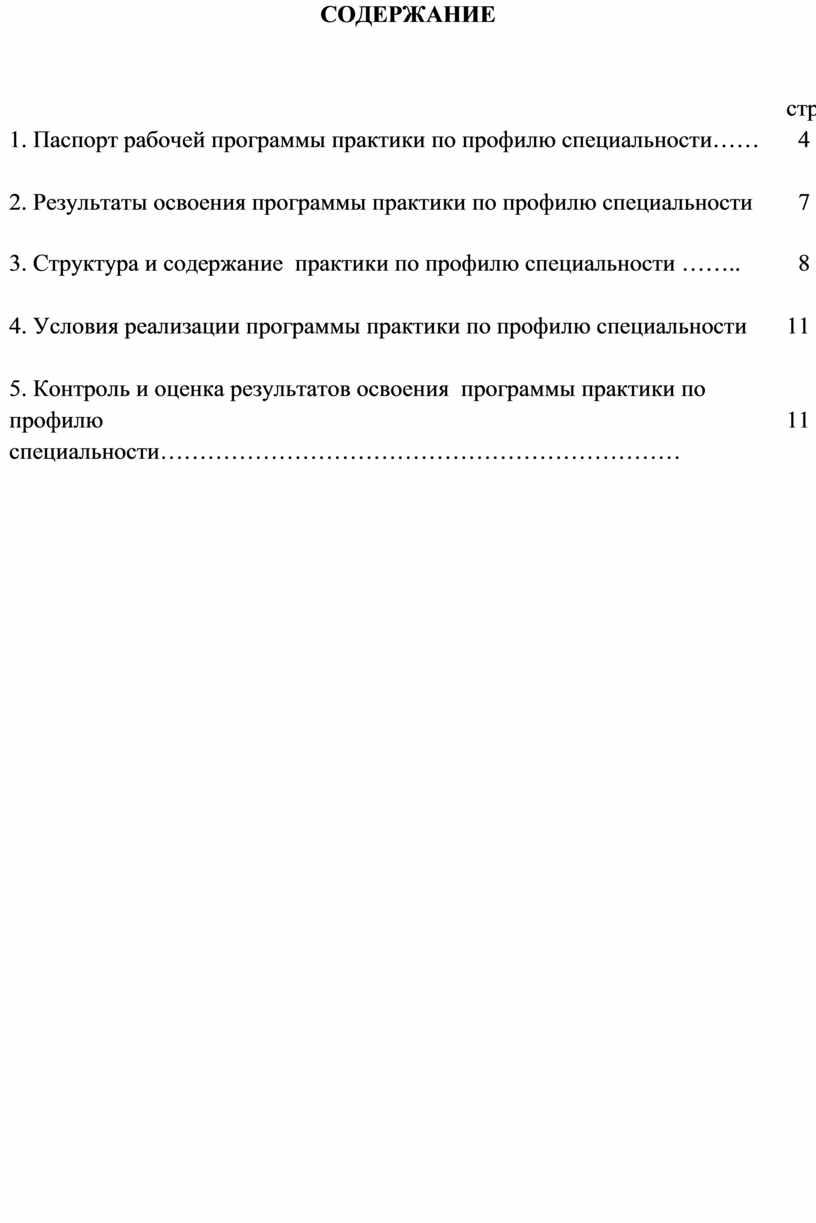 СОДЕРЖАНИЕ 1. Паспорт рабочей программы практики по профилю специальности…… стр