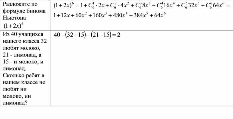 Разложите по формуле бинома Ньютона