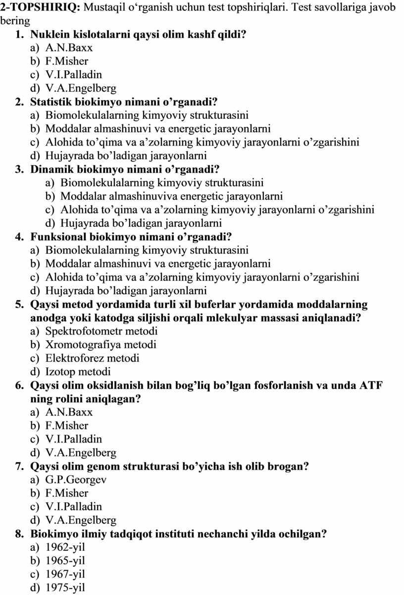 TOPSHIRIQ: Mustaqil о 'rganish uchun test topshiriqlari