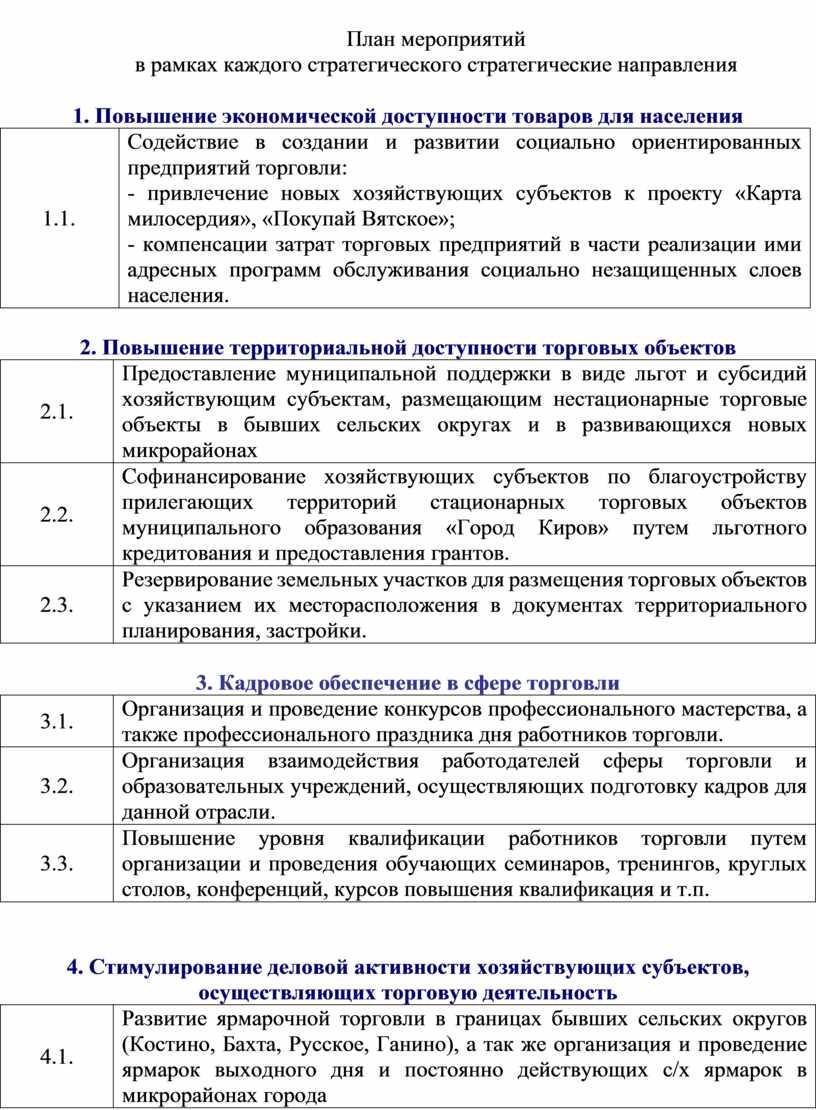 План мероприятий в рамках каждого стратегического стратегические направления 1