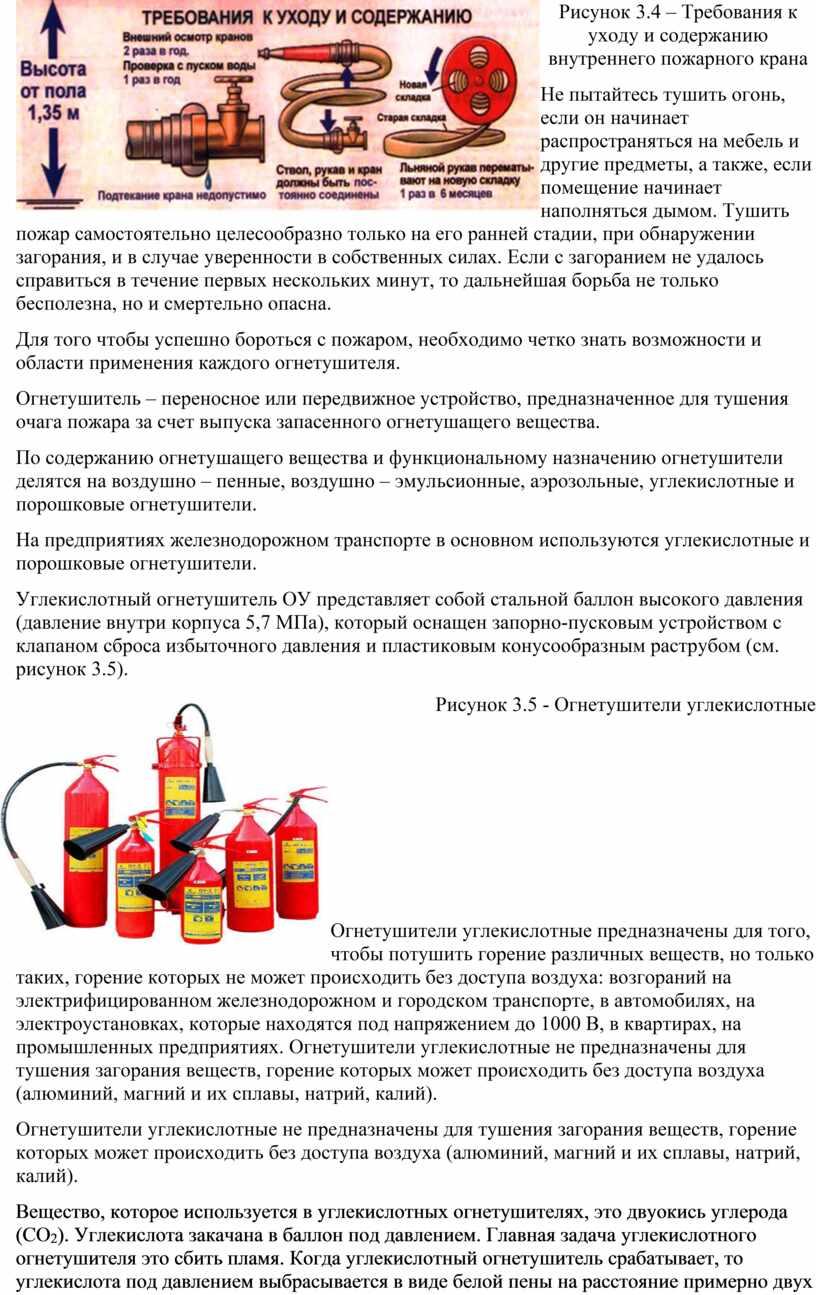 Рисунок 3.4 – Требования к уходу и содержанию внутреннего пожарного крана
