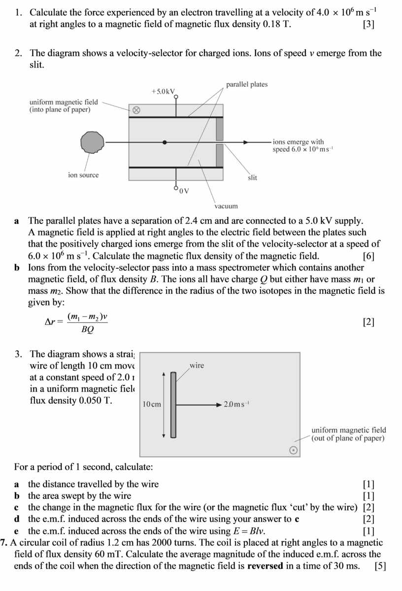 Calculate the force experienced by an electron travelling at a velocity of 4