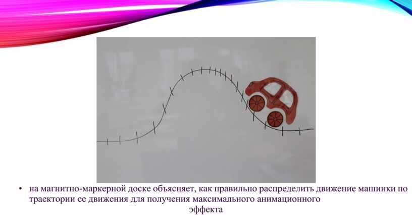 • на магнитно-маркерной доске объясняет, как правильно распределить движение машинки по траектории ее движения для получения максимального анимационного эффекта