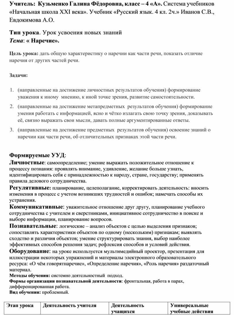 Учитель: Кузьменко Галина Фёдоровна, класс – 4 «А»