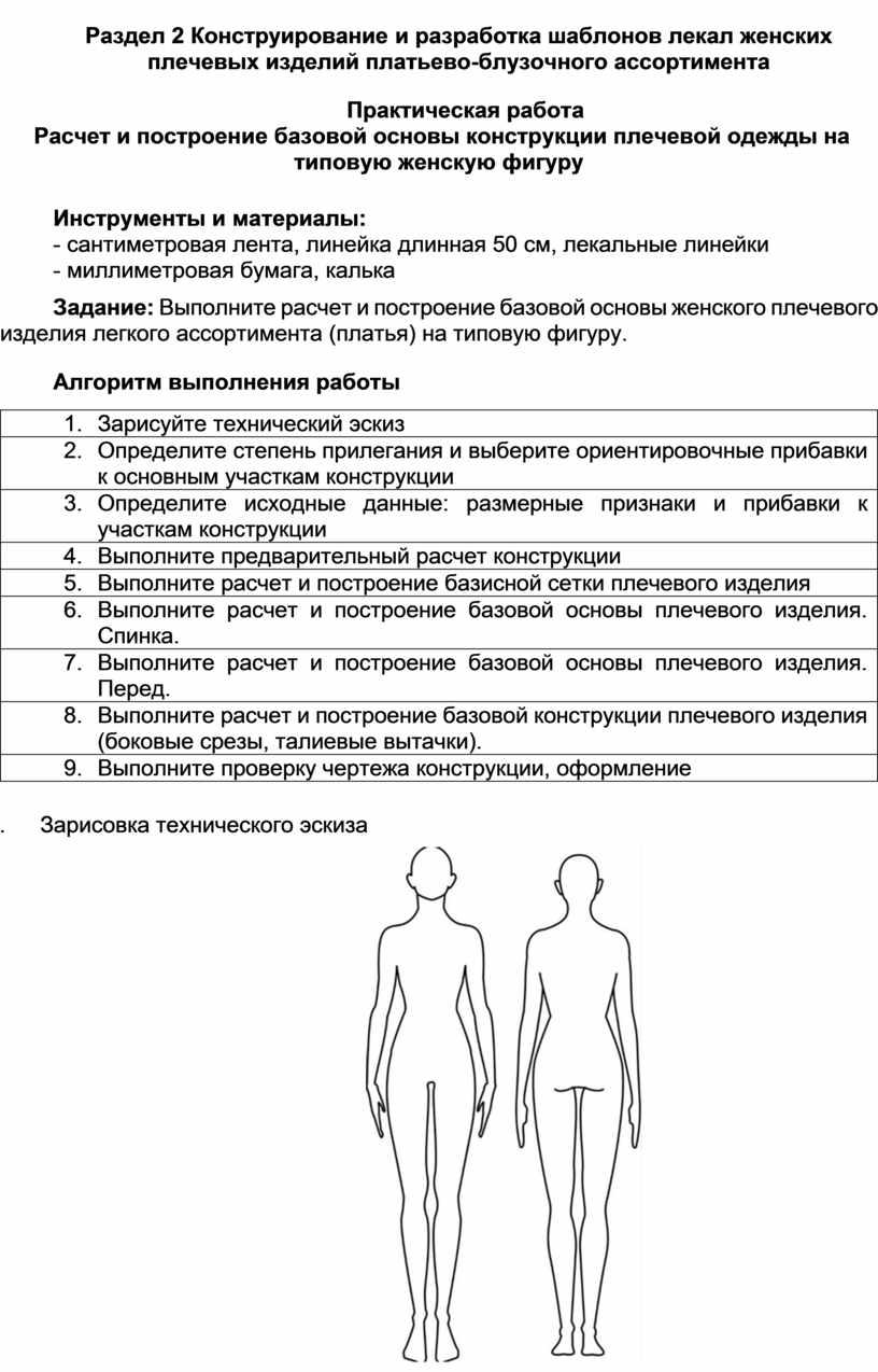 Раздел 2 Конструирование и разработка шаблонов лекал женских плечевых изделий платьево-блузочного ассортимента
