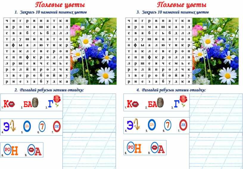 Полевые цветы 1. Закрась 10 названий полевых цветов ч н г р в п а т к п и р о м а ш к…