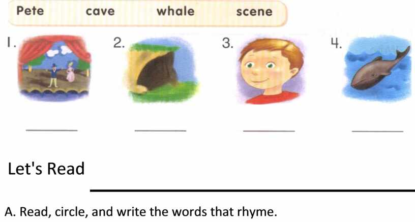 Let's Read A. Read, circle, and write the words that rhyme
