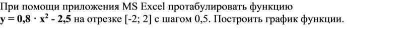 При помощи приложения MS Excel протабулировать функцию y = 0,8 · x 2 - 2,5 на отрезке [-2; 2] с шагом 0,5