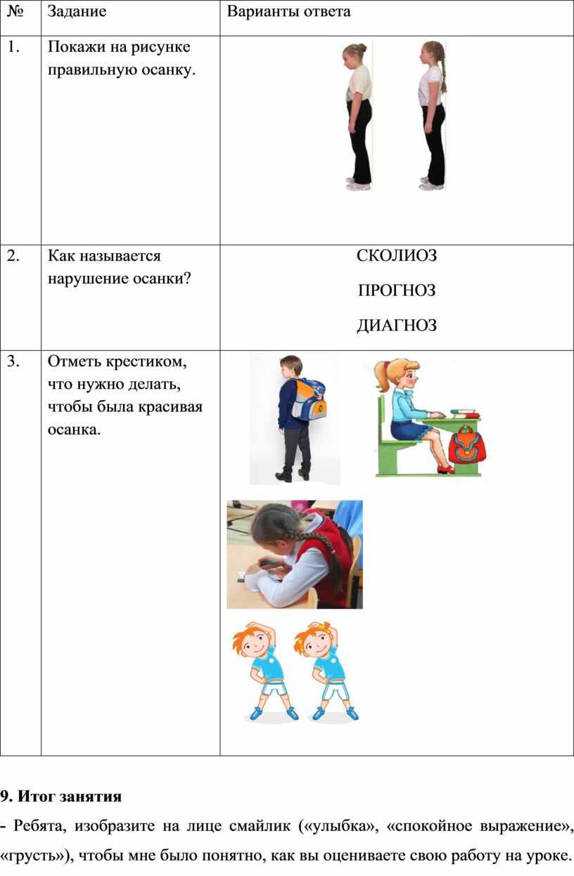 Задание Варианты ответа 1