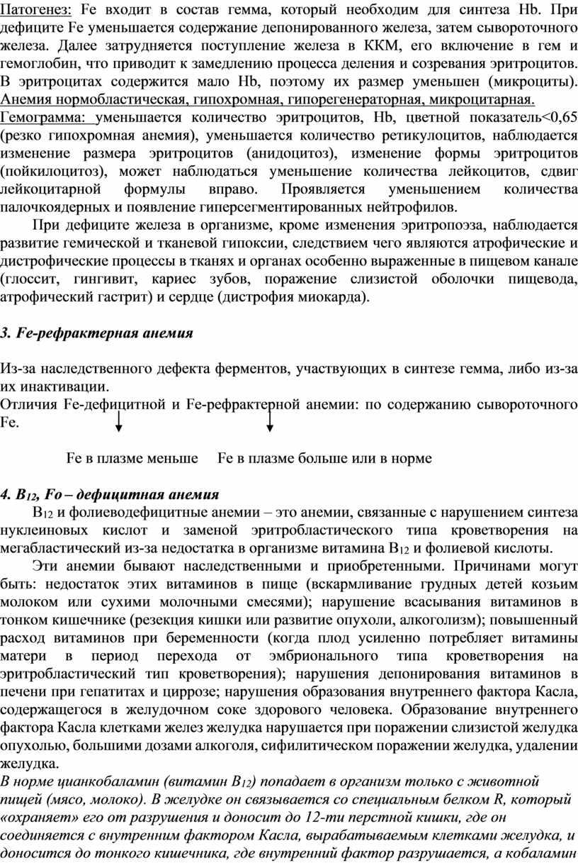 Патогенез: Fe входит в состав гемма, который необходим для синтеза
