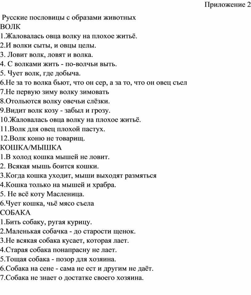 Приложение 2 Русские пословицы с образами животных