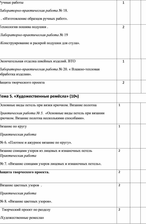 Ручные работы Лабораторно-практическая работа № 18