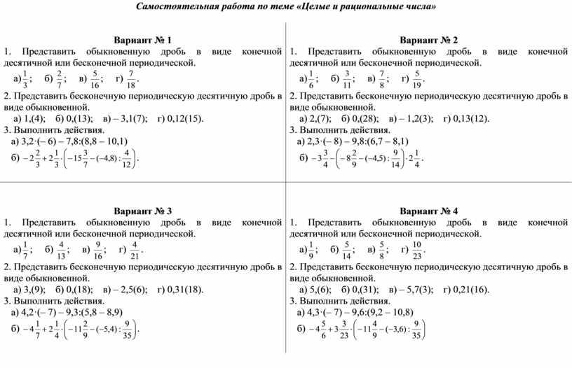 Самостоятельная работа по теме «Целые и рациональные числа»