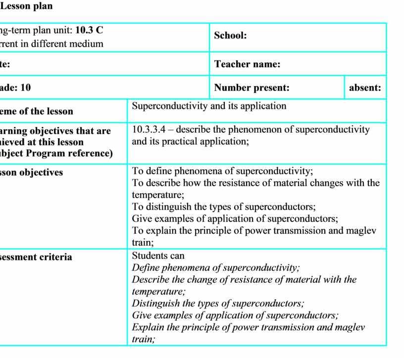 Lesson plan Long - term plan unit : 10