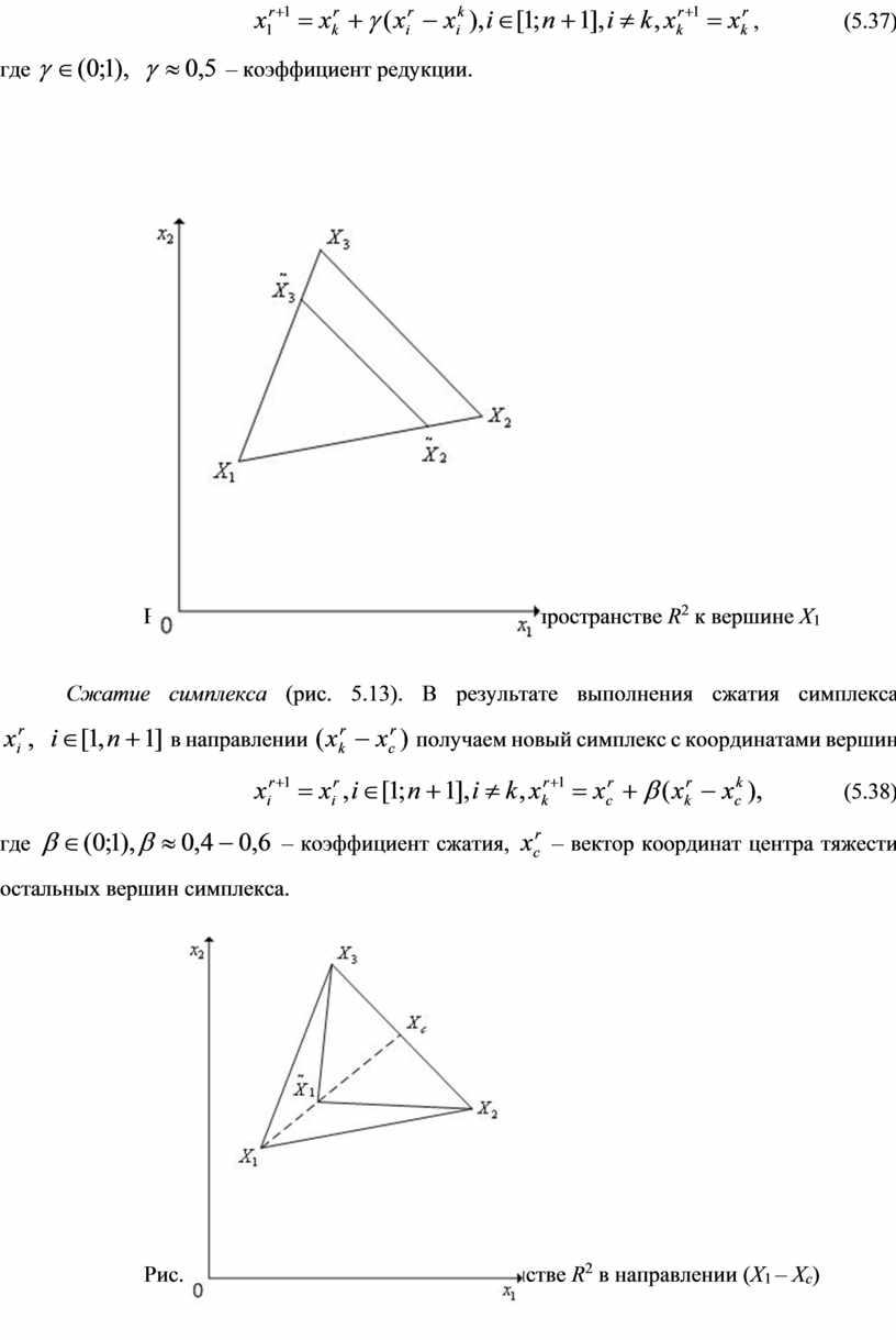 Рис. 5.12. Редукция вершин симплекса в пространстве