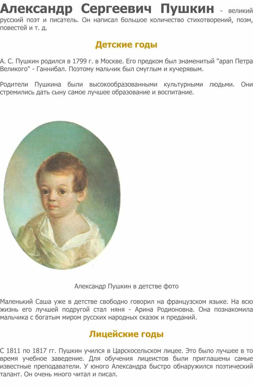 Александр Сергеевич Пушкин - великий русский поэт и писатель