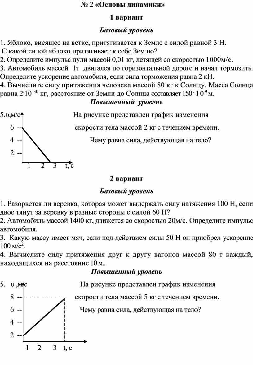 Основы динамики» 1 вариант
