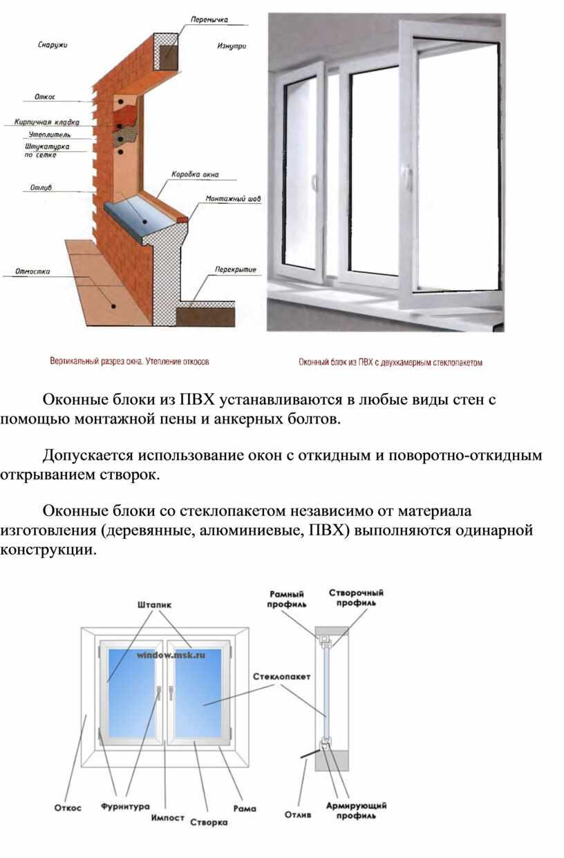 Оконные блоки из ПВХ устанавливаются в любые виды стен с помощью монтажной пены и анкерных болтов