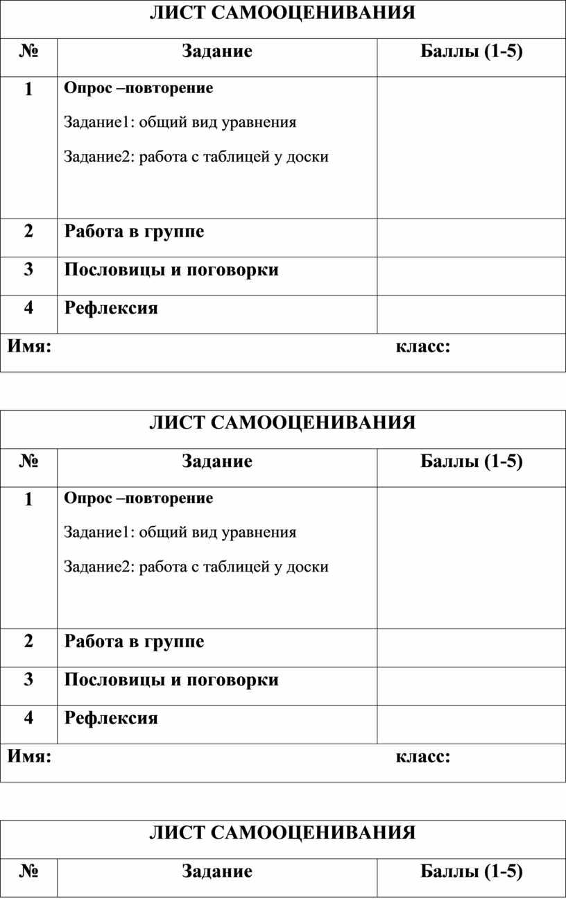 ЛИСТ САМООЦЕНИВАНИЯ №