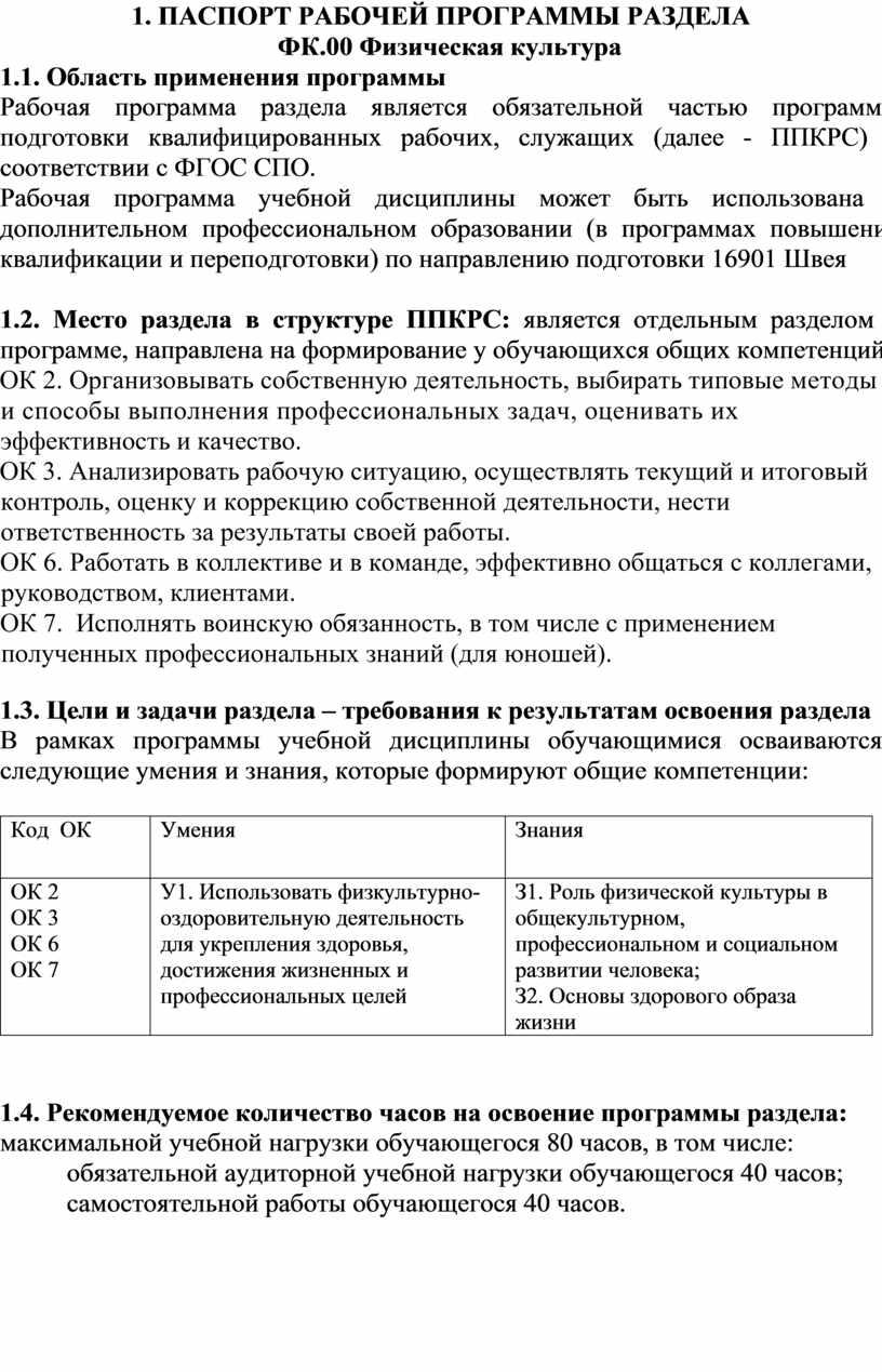 ПРОГРАММЫ РАЗДЕЛА ФК.00 Физическая культура 1