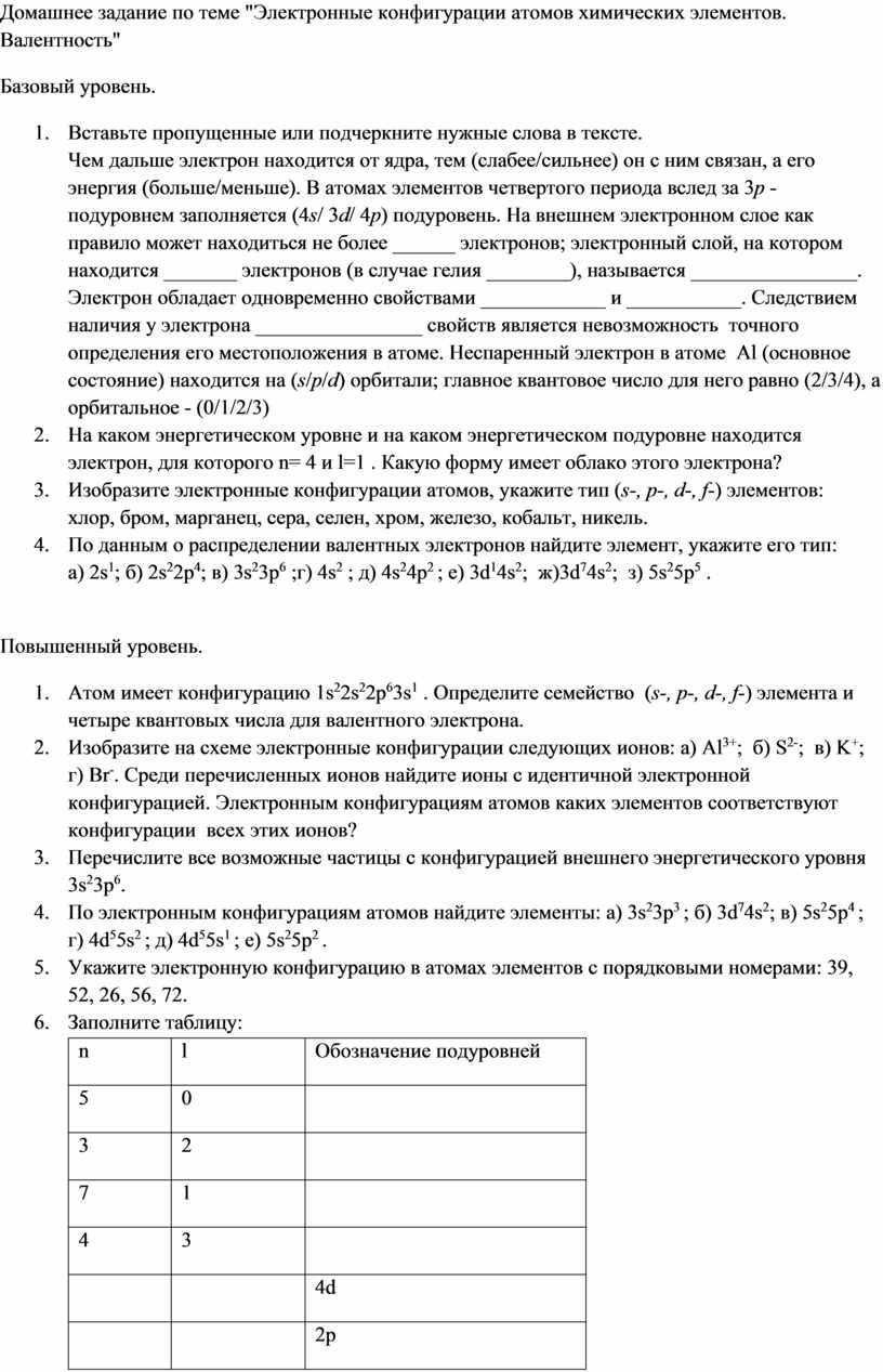 """Домашнее задание по теме """"Электронные конфигурации атомов химических элементов"""