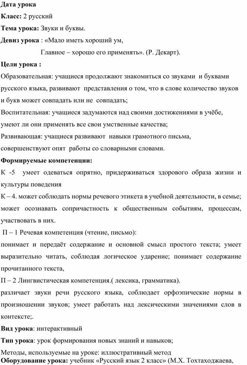 Дата урока Класс: 2 русский