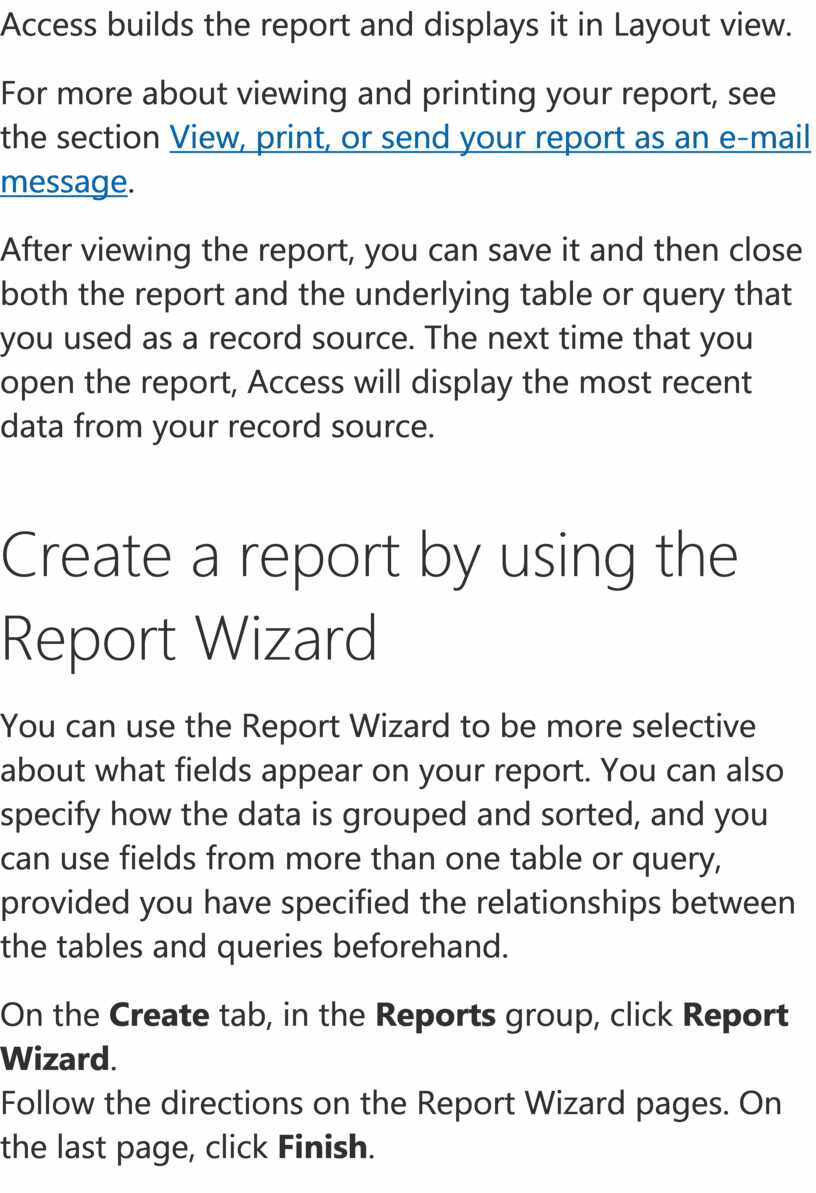 Access builds the report and displays it in
