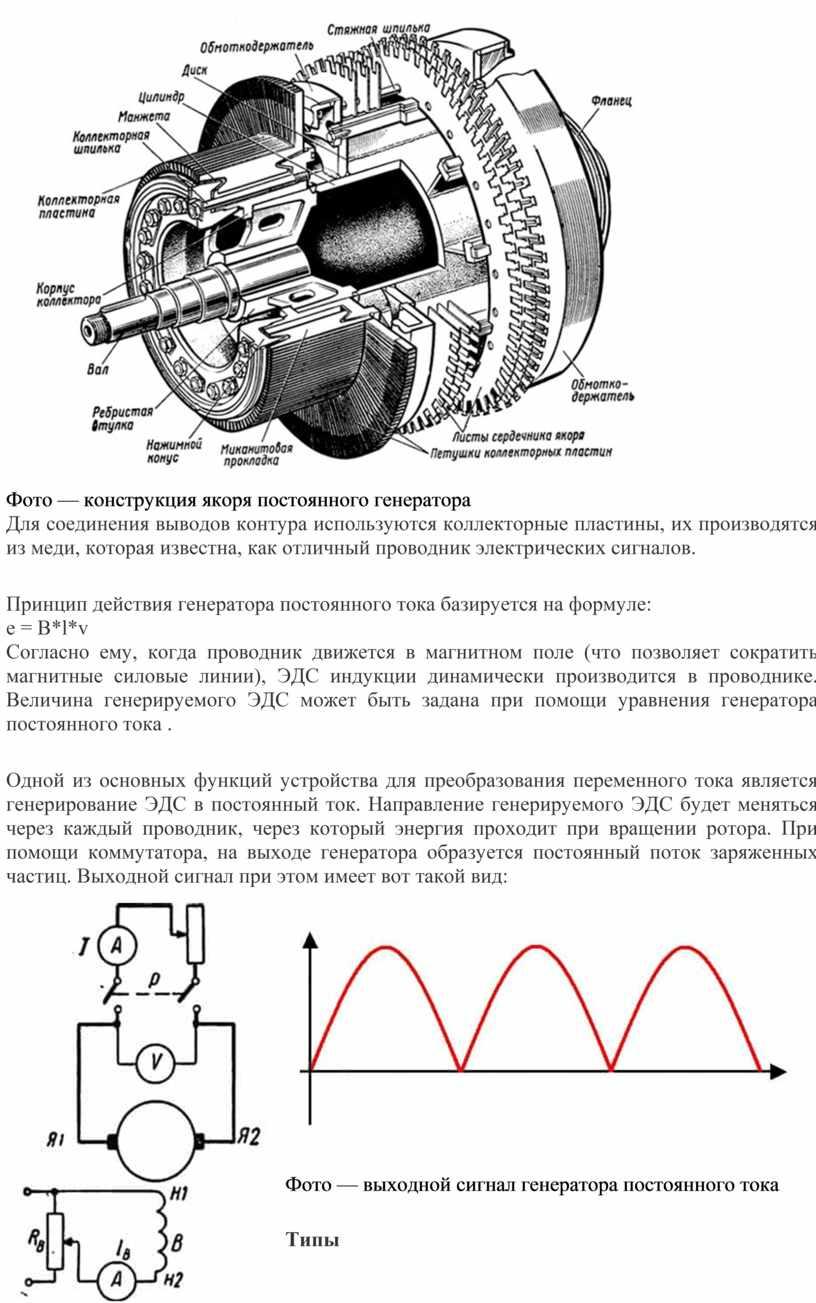 Фото — конструкция якоря постоянного генератора
