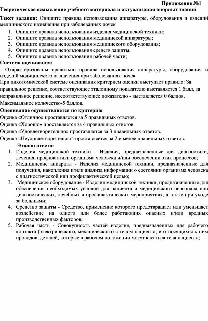 Приложение №1 Теоретическое осмысление учебного материала и актуализация опорных знаний