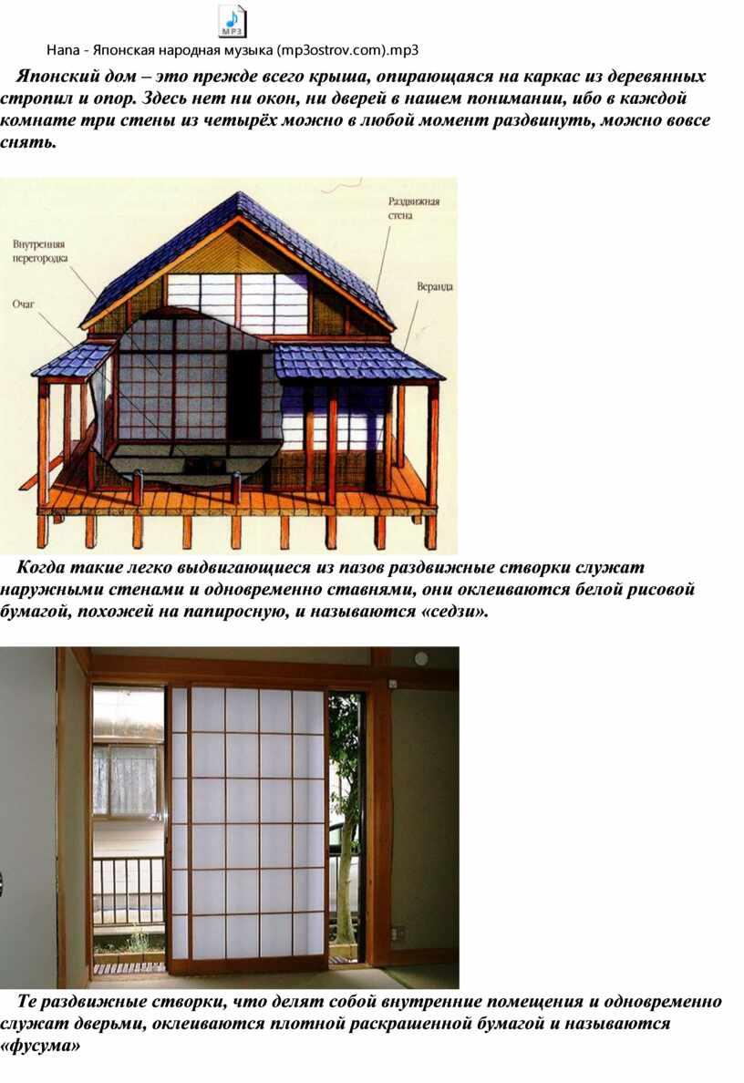 Японский дом – это прежде всего крыша, опирающаяся на каркас из деревянных стропил и опор