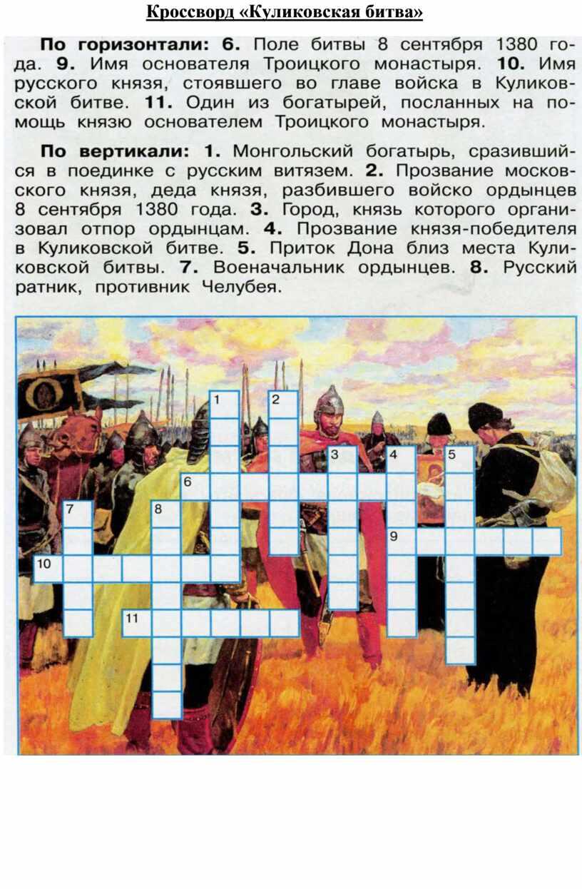 Кроссворд «Куликовская битва»