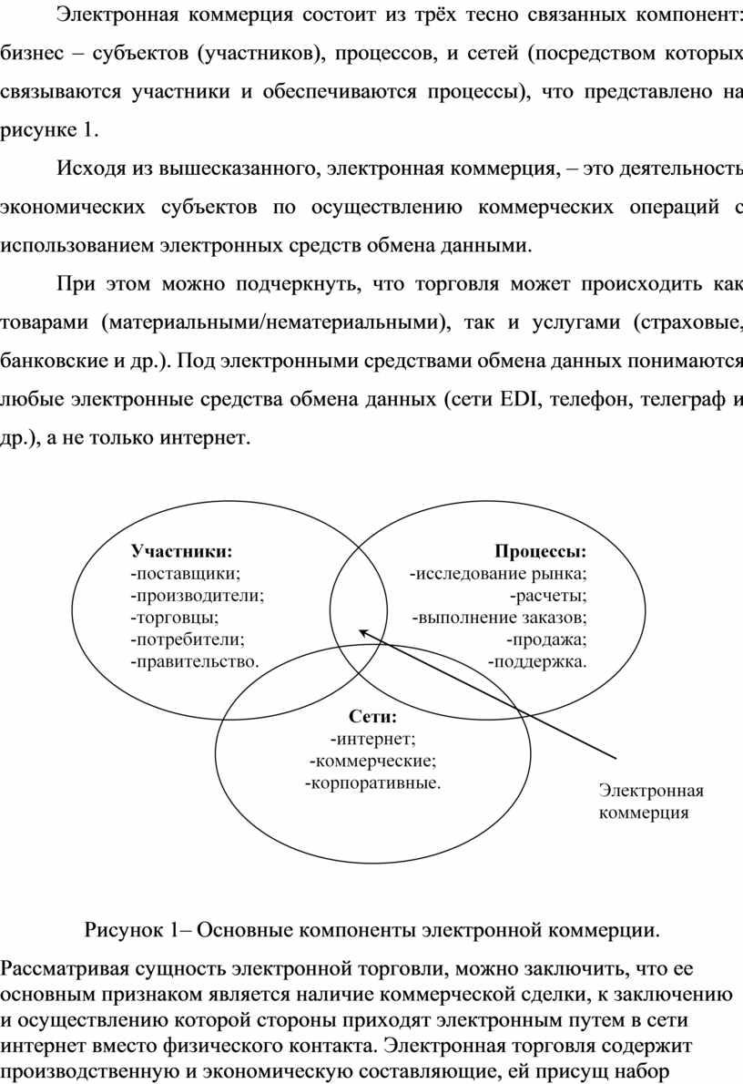 Электронная коммерция состоит из трёх тесно связанных компонент: бизнес ‒ субъектов (участников), процессов, и сетей (посредством которых связываются участники и обеспечиваются процессы), что представлено на…