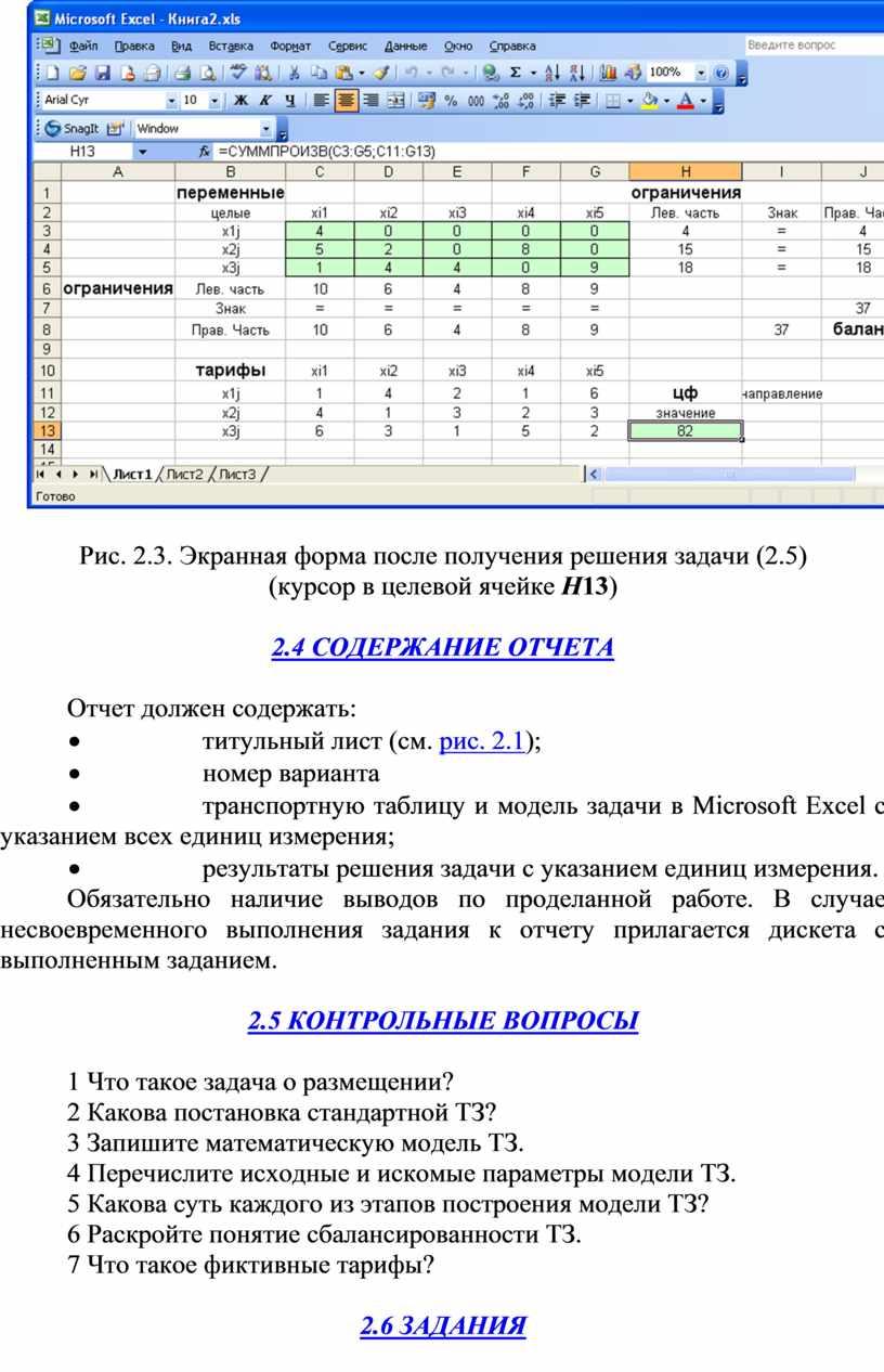 Рис. 2.3. Экранная форма после получения решения задачи (2