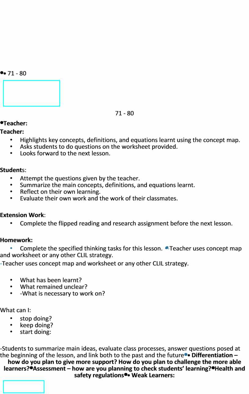 Teacher: • Highlights key concepts, definitions, and equations learnt using the concept map