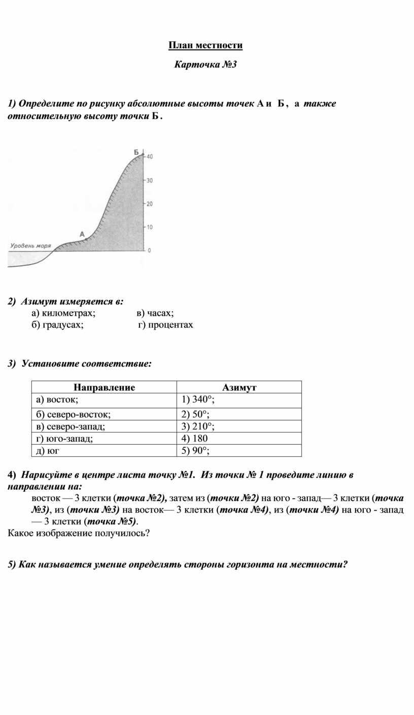 План местности Карточка №3 1)
