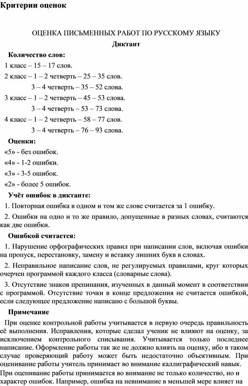 Критерии оценок ОЦЕНКА