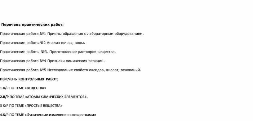 Перечень практических работ: