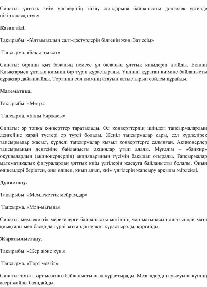 Сипаты: ұлттық киім үлгілерінің тігілу жолдарына байланысты дөңгелек үстелде пікірталасқа түсу